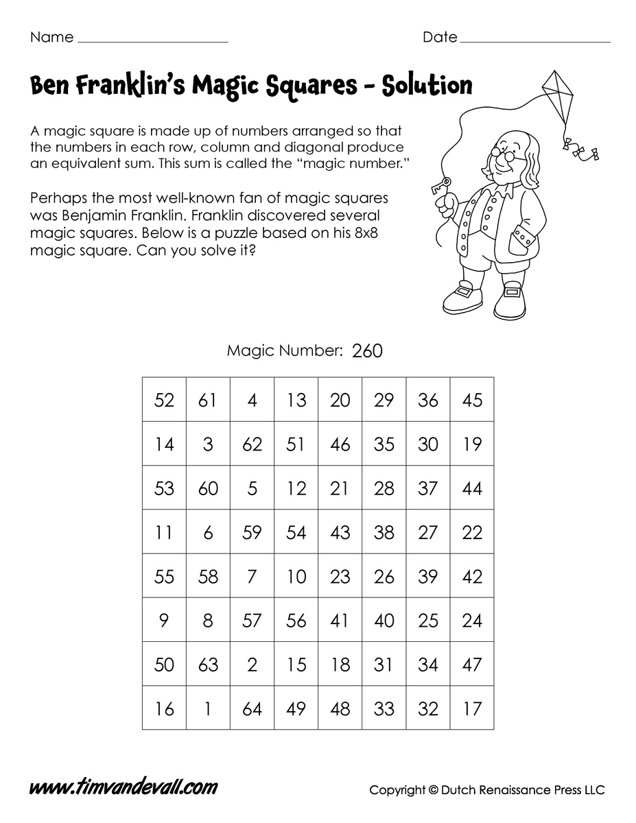 Magic Squares Worksheets – Magic Squares Math Worksheets