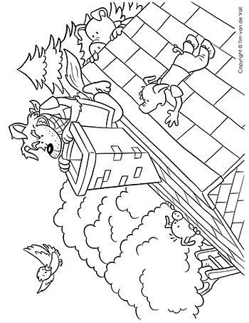 Wolf at Chimney Coloring Page