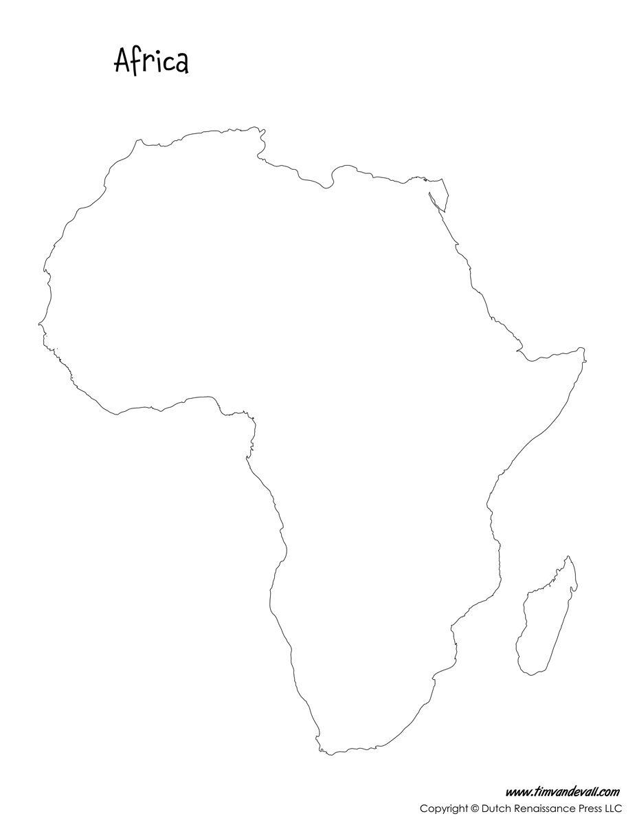 Africa Map Tims Printables