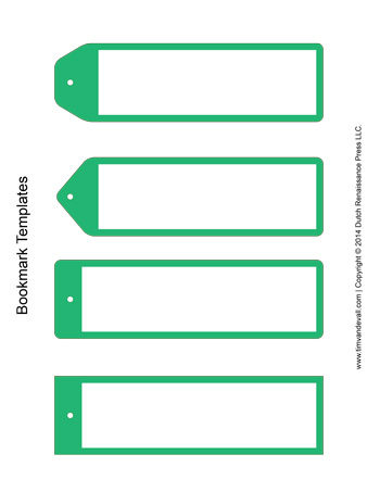 Bookmark Templates  Green  TimS Printables
