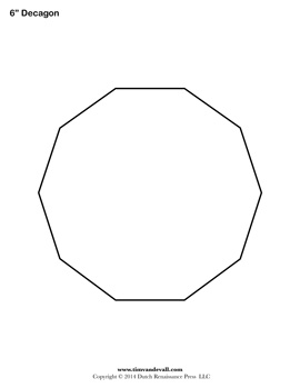 Blank Decagon Templates | Printable Decagon Shapes | PDF Format