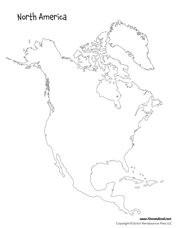 Clean image throughout north america printable map