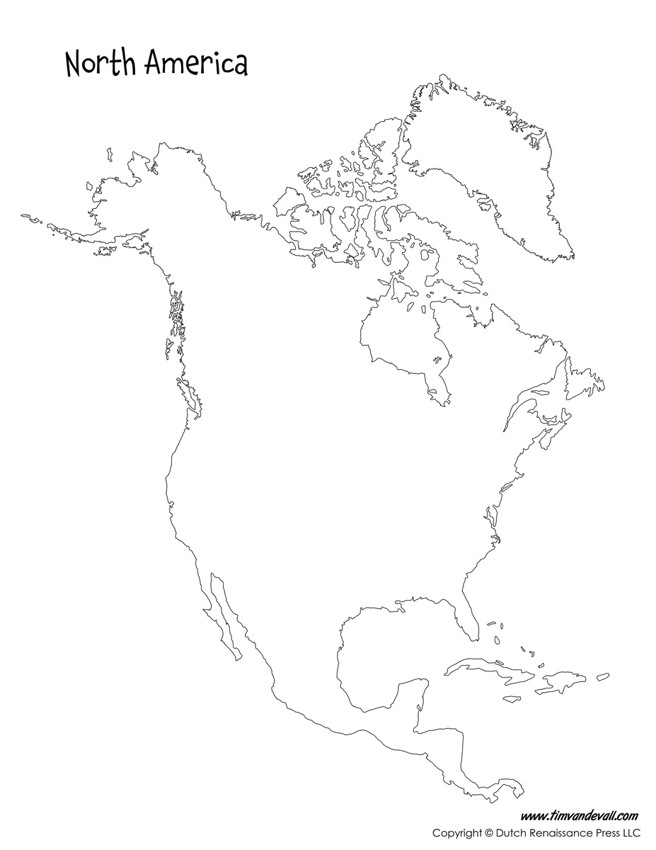 North America Map Tims Printables - Download map of north america