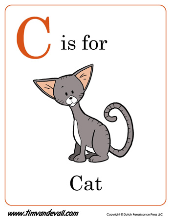 C Is For Cat Letter C Coloring Page Pdf