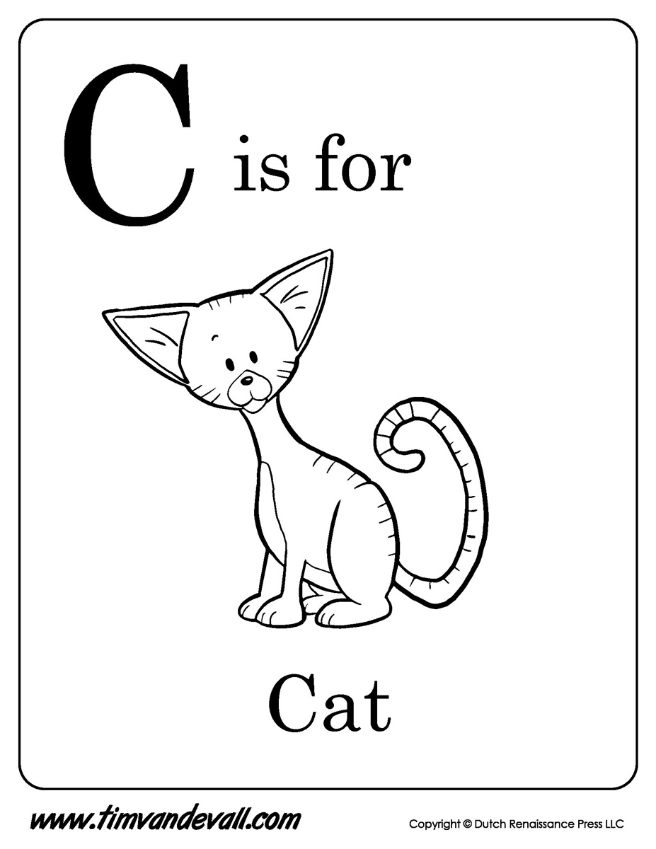 C is for cat printable tim van de vall for C is for cat coloring page
