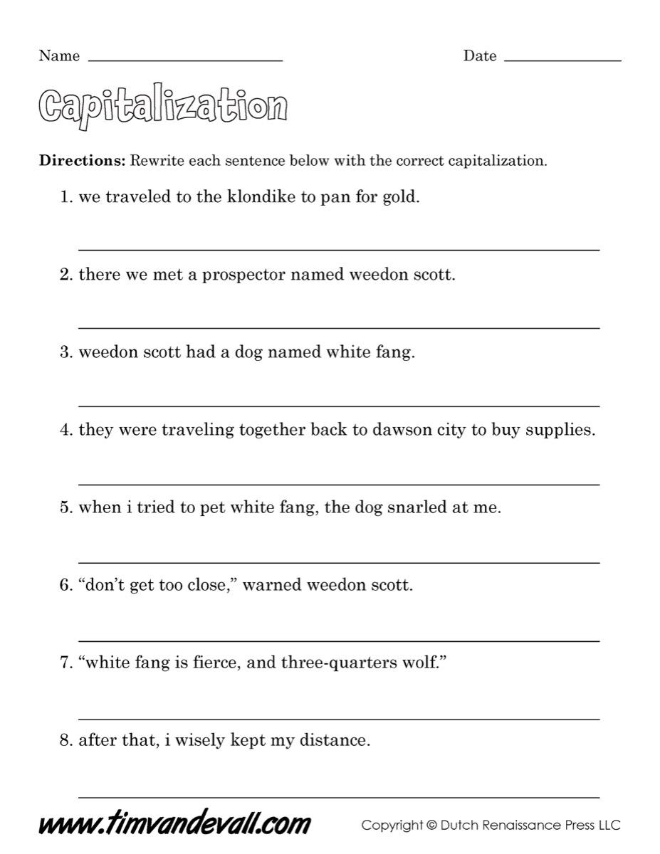 Worksheets Capitalization Worksheet tim van de vall comics printables for kids capitalization worksheet 01