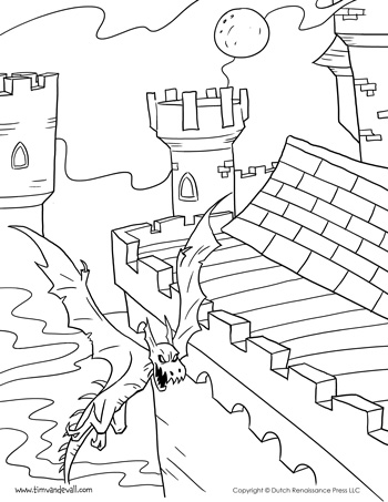 Castle coloring pages for kids printable coloring pages for Dragon and castle coloring pages