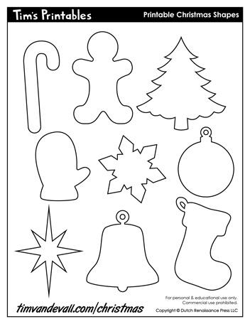 printable christmas shapes
