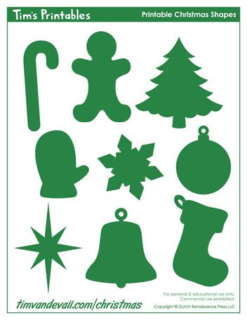 free christmas shapes printable