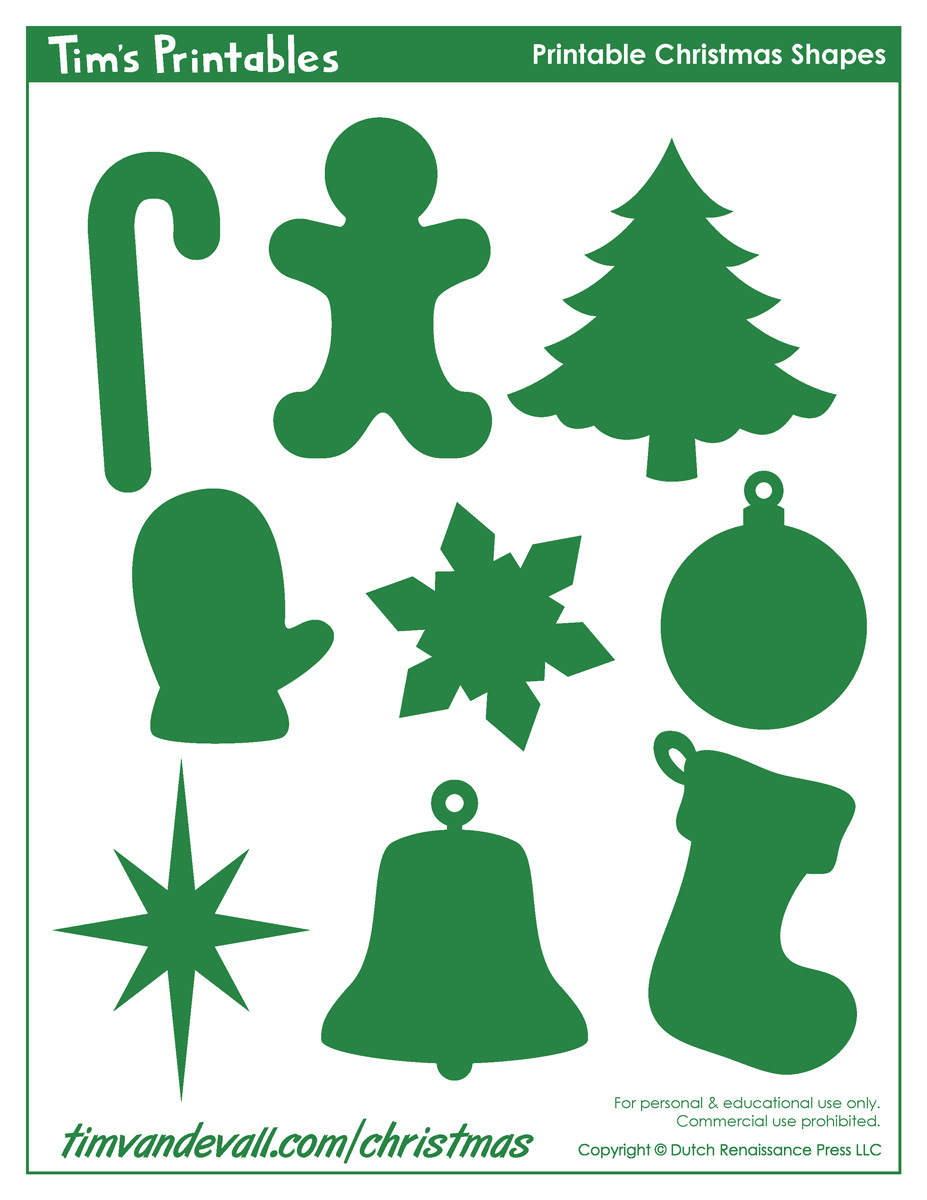 Printable Christmas Shapes, Christmas Shape Templates