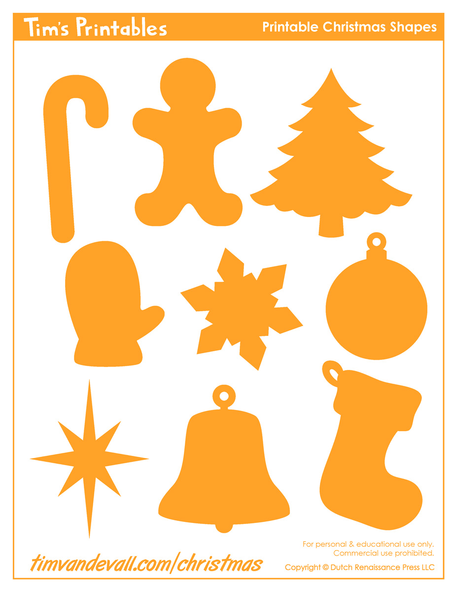 graphic about Christmas Cutouts Printable identified as Printable Xmas Styles - Tims Printables