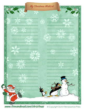 printable christmas wishlist template