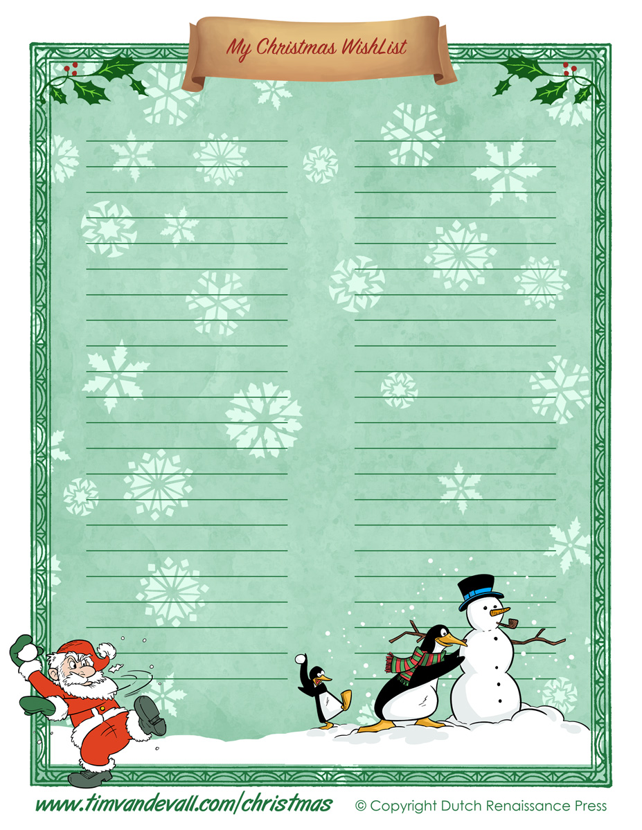 Printable Christmas Wishlist Template ...  Christmas List Template For Kids