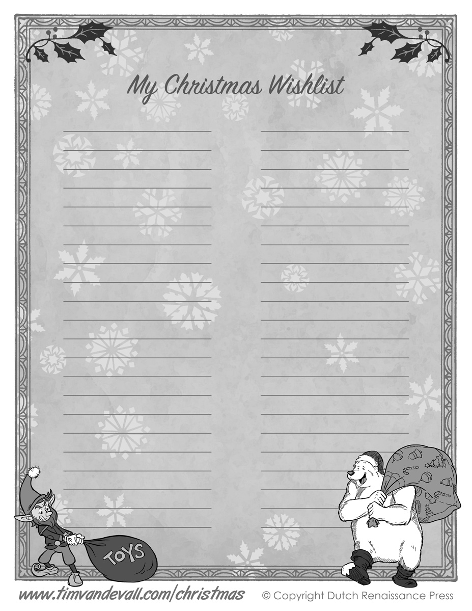 Christmas Wish List Paper – Printable Christmas List Template