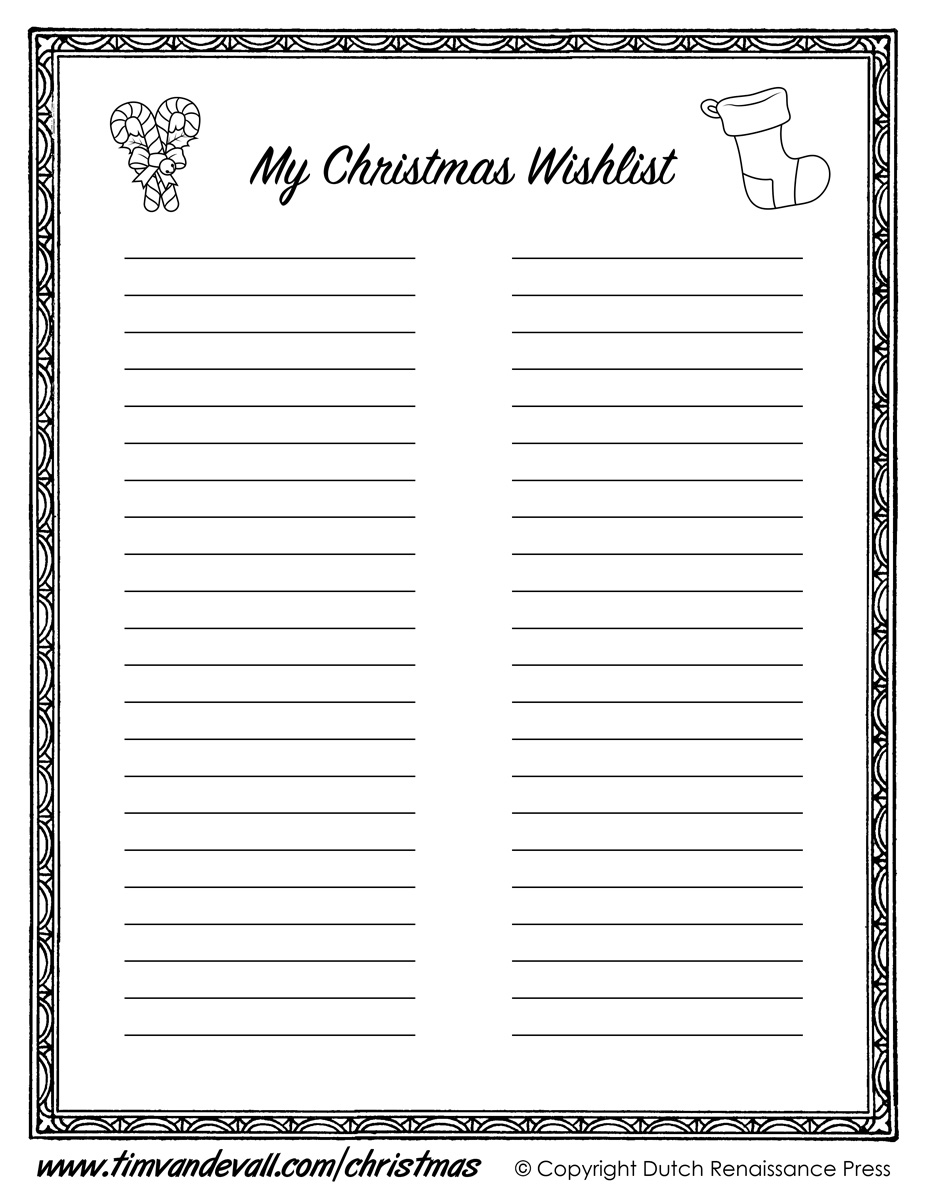 Printable Christmas Wishlist Template for Kids – Free Printable Christmas Wish List Template