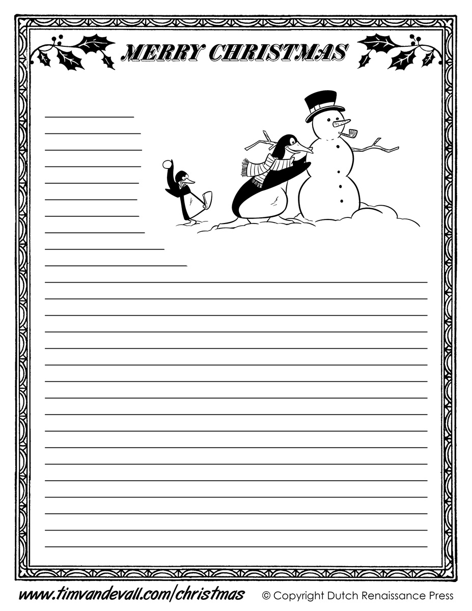 Printable Christmas Writing Paper Templates
