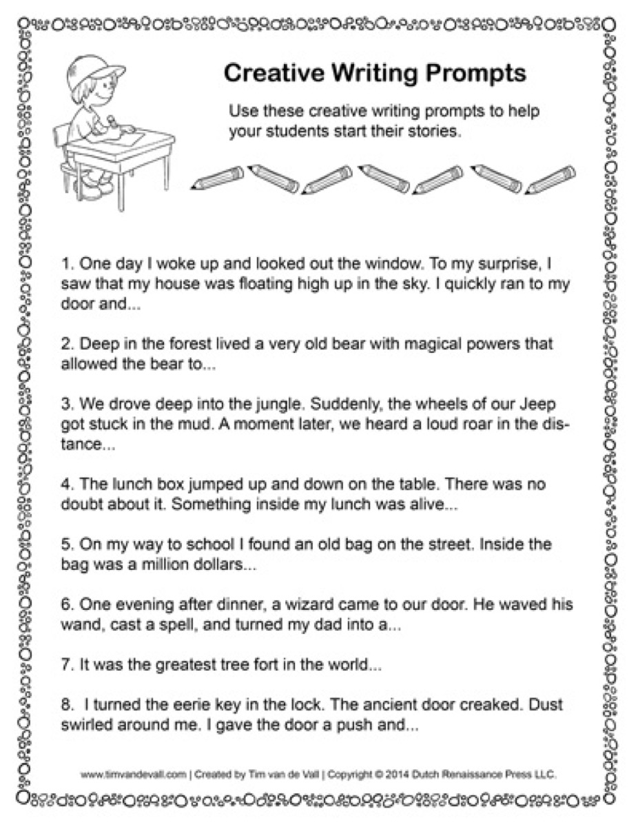worksheet Creative Writing Prompts Worksheets creative writing prompts 01 tims printables a worksheet for language arts class