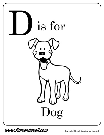 D is for Dog Letter D Coloring Page