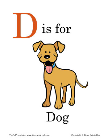 photograph regarding Dog Printable referred to as D is for Doggy Printable - Tims Printables