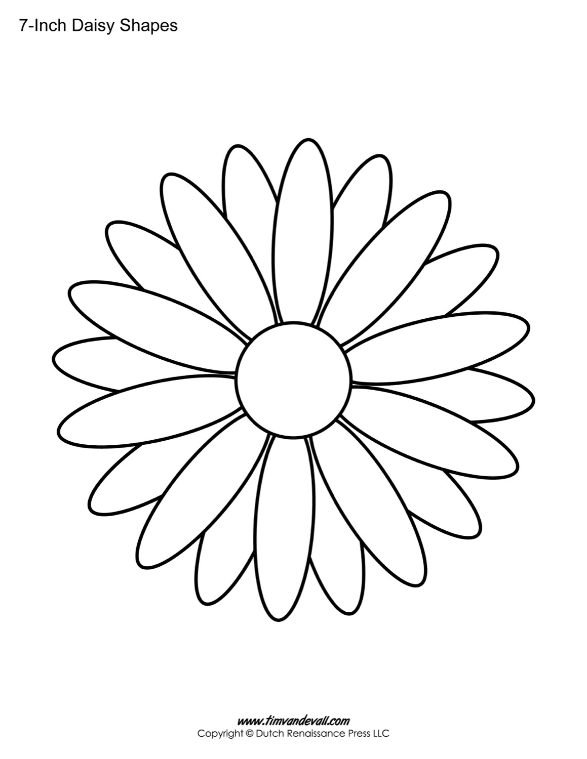 Free printable daisy templates daisy shape flower pdfs daisy outline pronofoot35fo Image collections