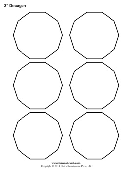 Blank Decagon Templates | Printable Decagon Shapes | PDF Format