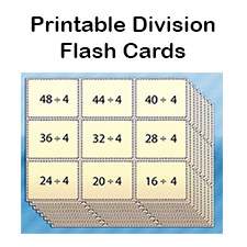 image relating to Division Flash Cards Printable named No cost Office Flash Playing cards for Small children Printable PDF
