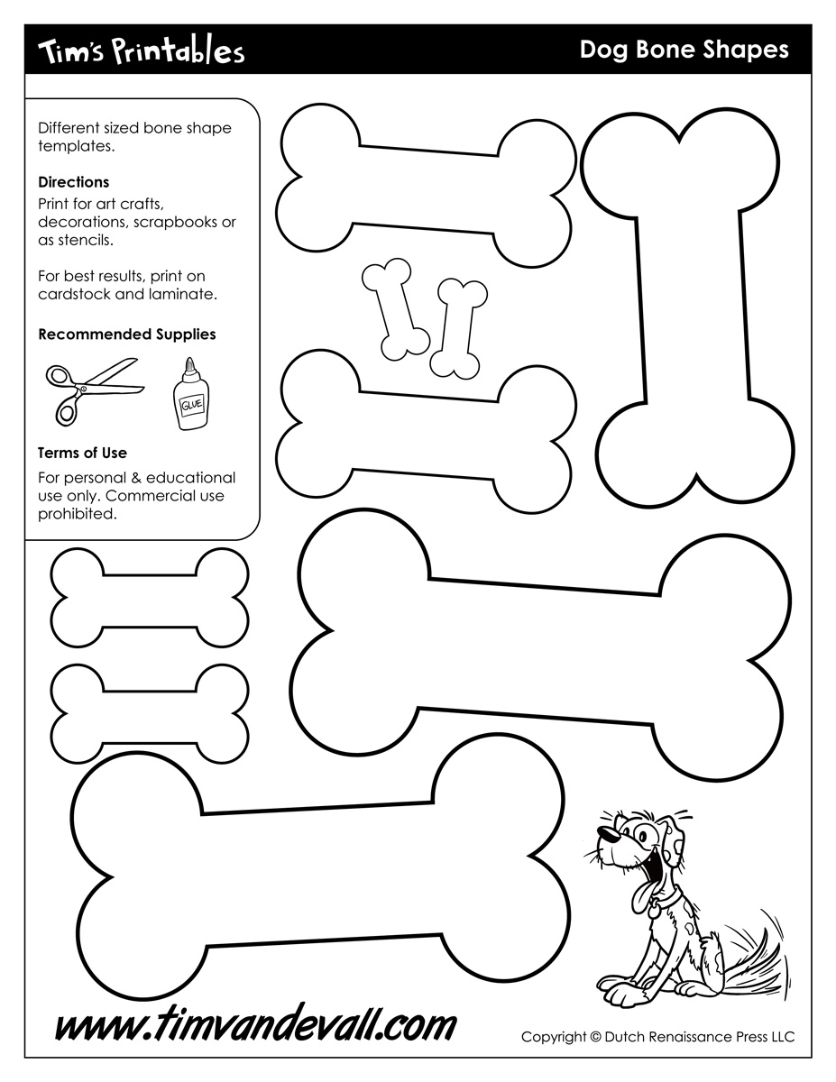 graphic relating to Bone Printable named Pet dog Bone Designs - Tims Printables