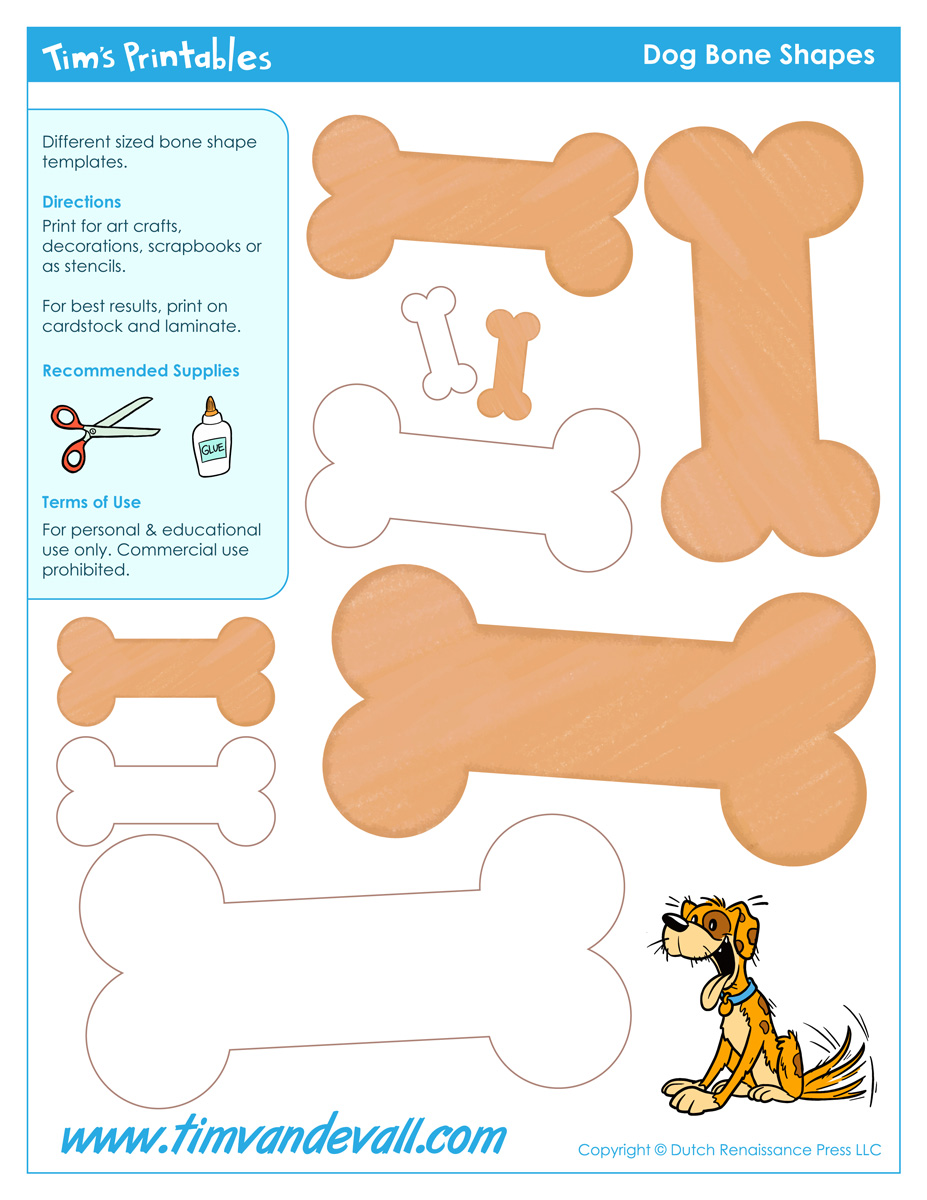 Free Printable Dog Bone Templates | Blank Dog Bone Shapes