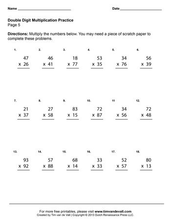 Double Digit Multiplication Worksheets - Fourth Grade Math Worksheets