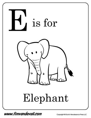 is for Elephant Printable - Tim's Printables