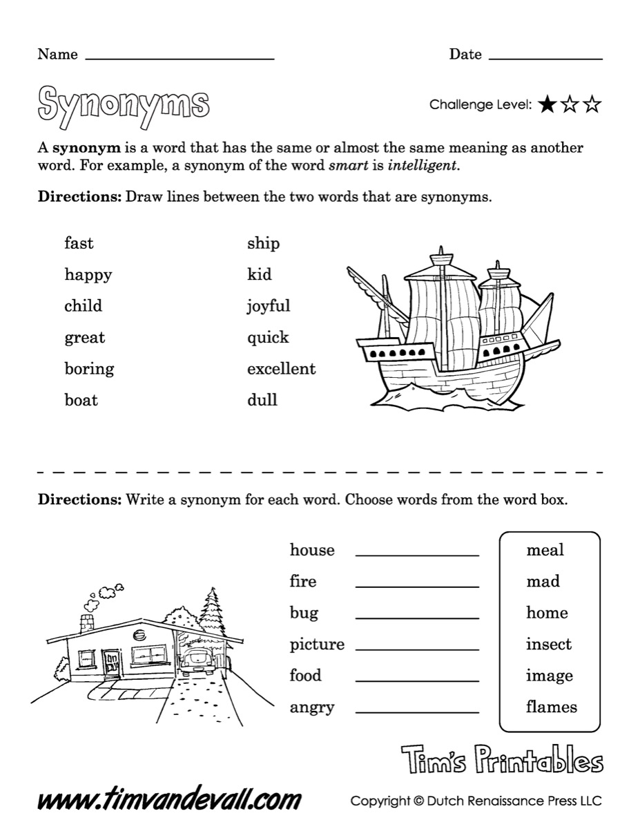 Synonyms Worksheet \u2013 Easy