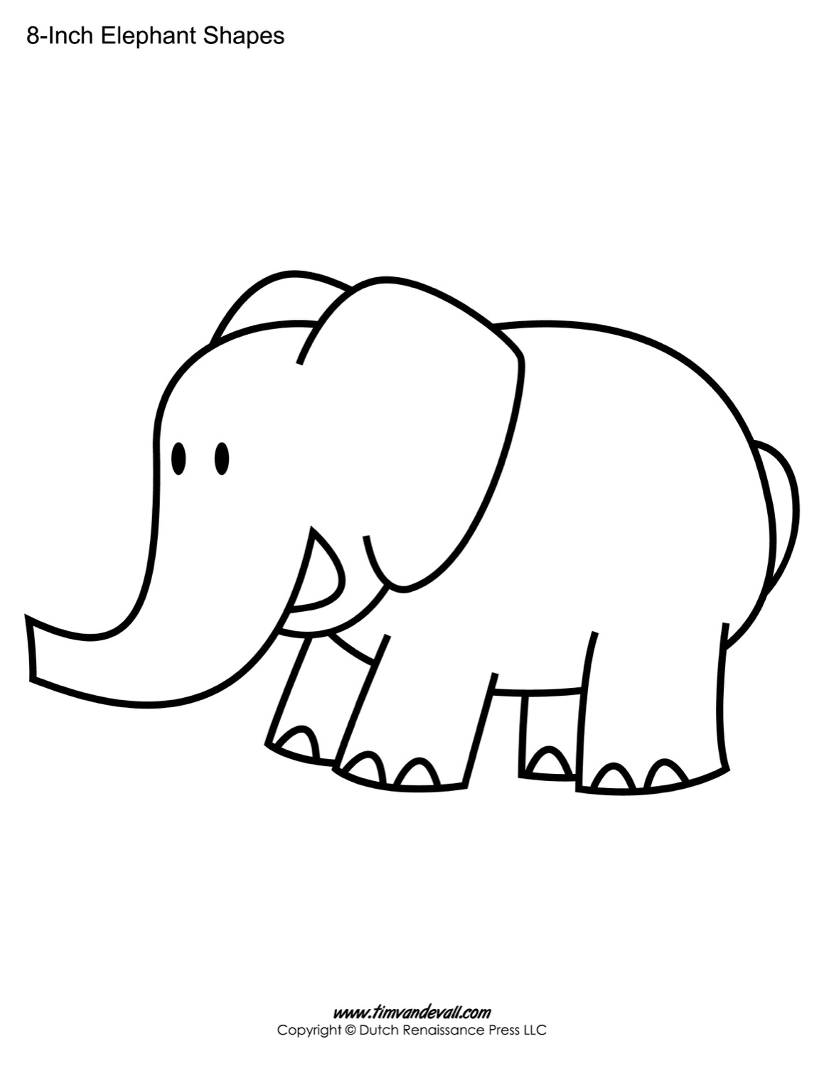 Printable Elephant Templates / Elephant Shapes for Kids