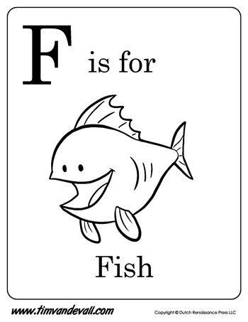 F is for Fish Letter F Coloring Page