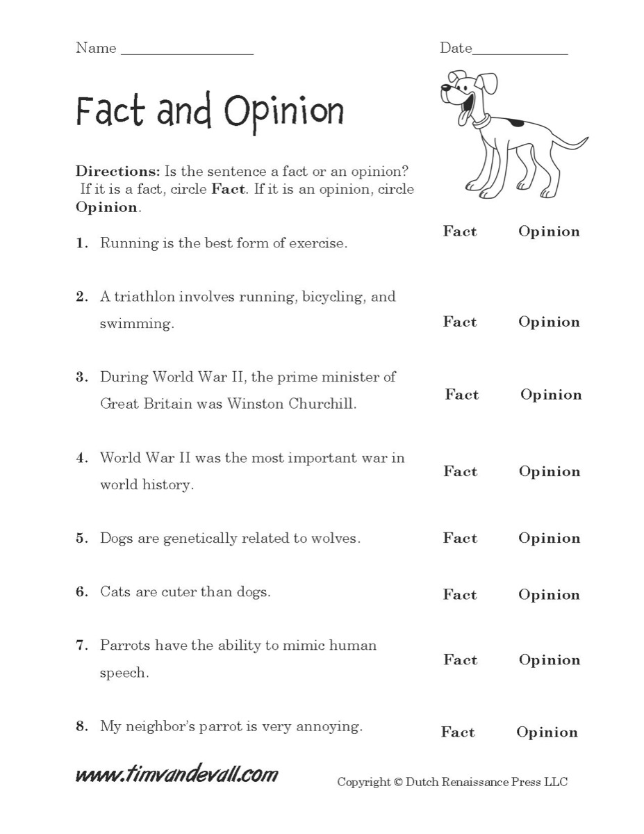 Fact and Opinion Worksheet 02 - Tim's Printables