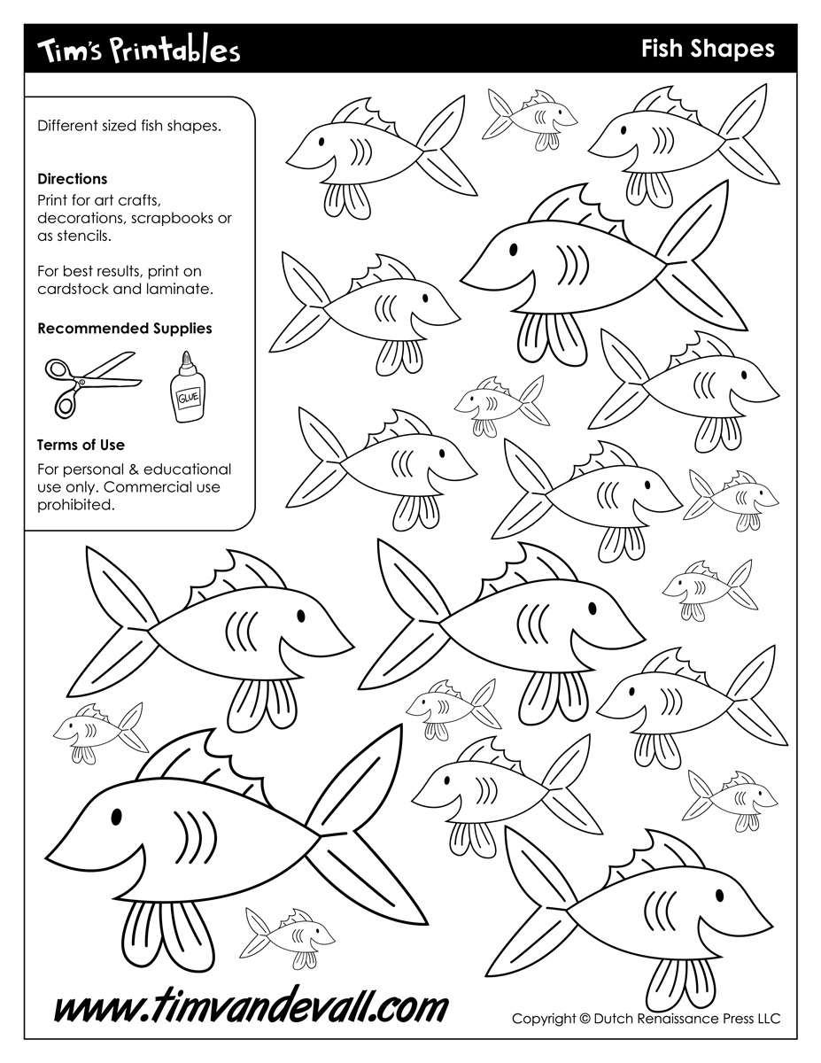 graphic regarding Printable Fish Picture titled Printable Fish Templates for Little ones Preschool Fish Styles