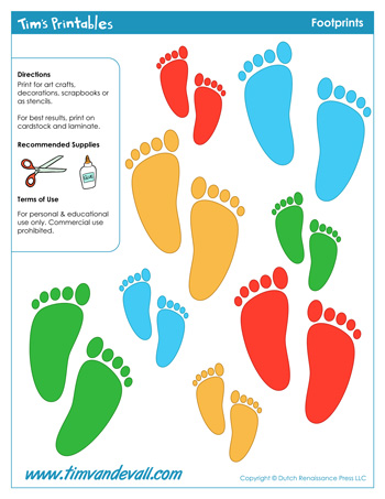 photo regarding Footprint Printable called Footprint Templates - Tims Printables