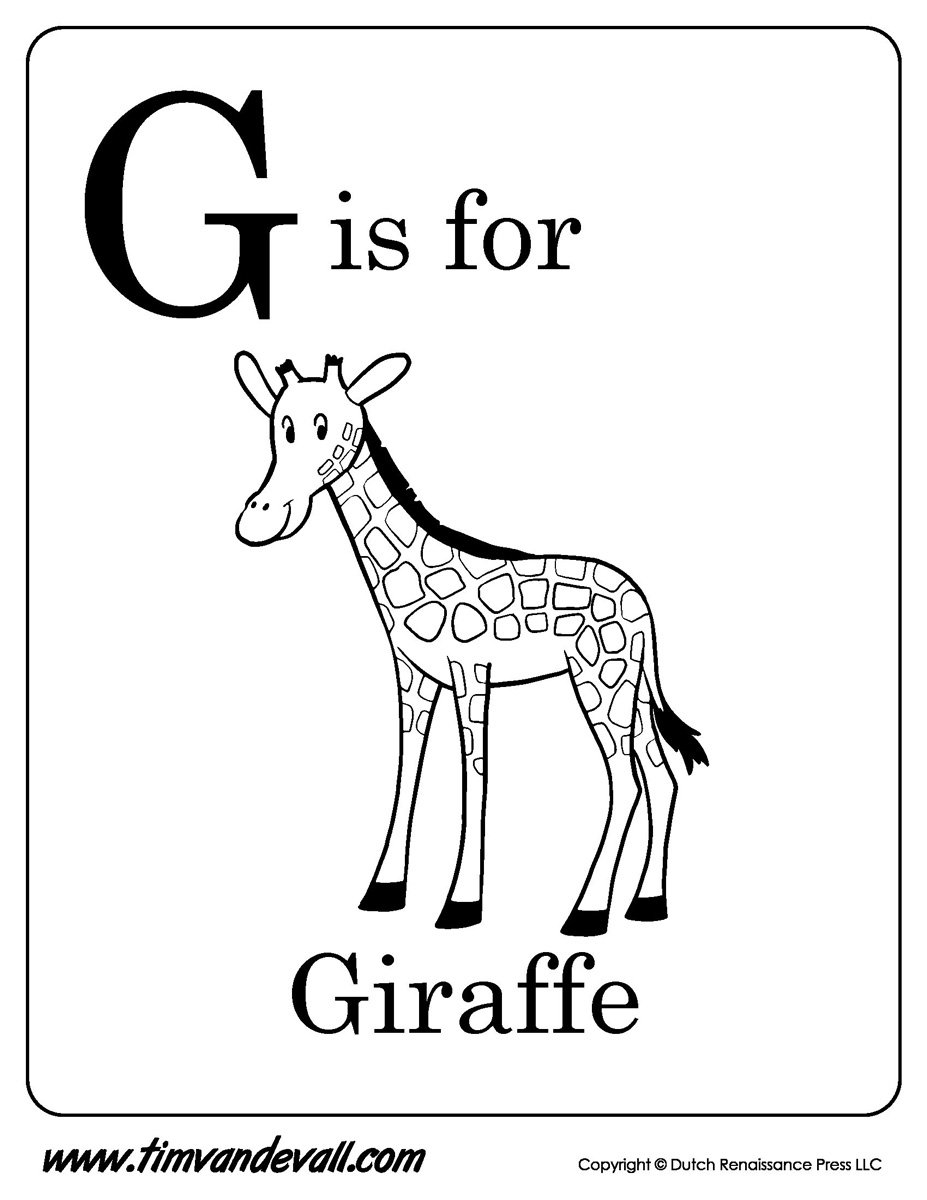 G Is For Giraffe Printable Tims Printables