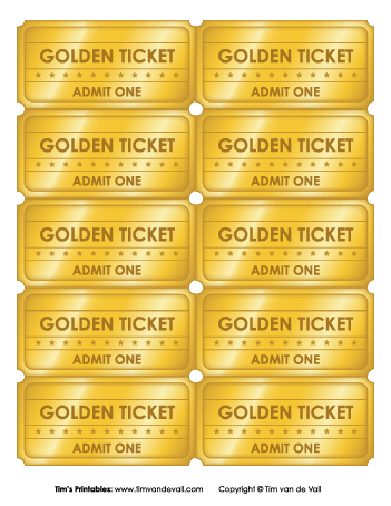 graphic about Printable Golden Ticket identify Golden Tickets - 10 Rely - Tims Printables