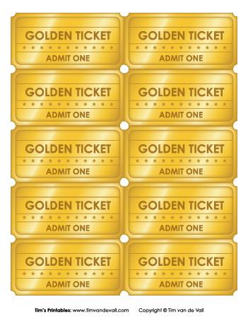 photo regarding Golden Ticket Printable named Golden Tickets - 10 Rely - Tims Printables