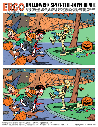 image about Spot the Difference Printable identify Totally free Printable Halloween Place-the-Variance Sport