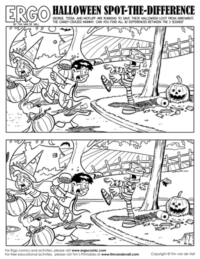 graphic about Spot the Difference Printable called Halloween Vacation spot the Distinction - Tims Printables