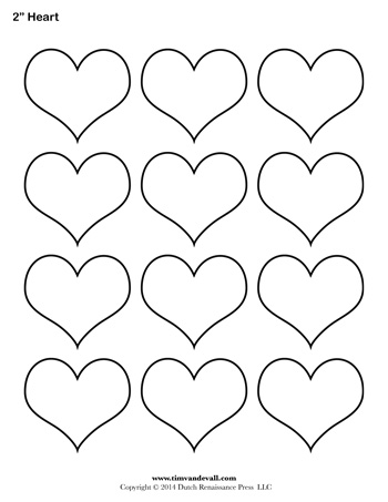 graphic about Heart Outline Printable titled Centre Template - 2 Inch - Tims Printables