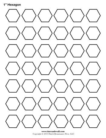 Hexagon Template - 1 inch - Tim\'s Printables