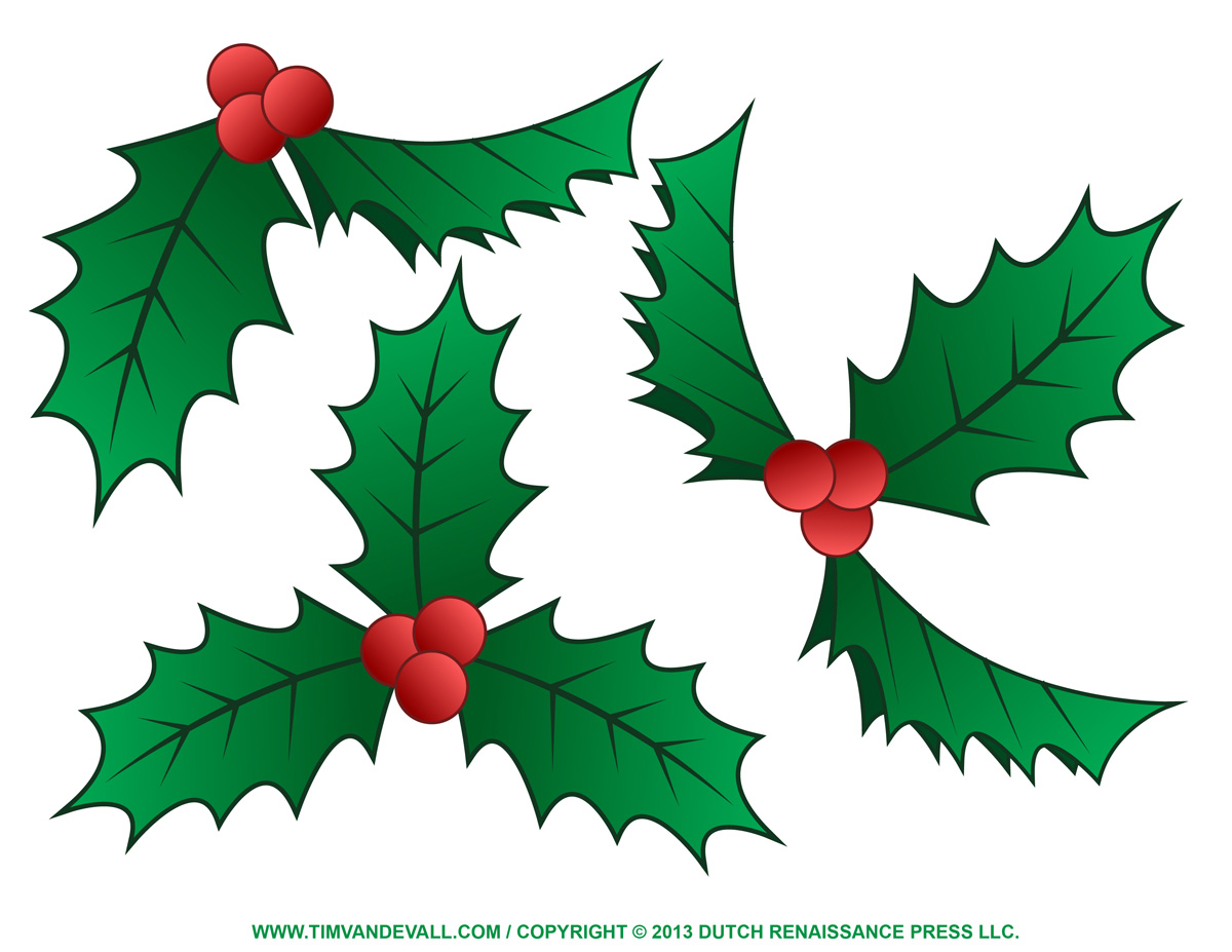 Christmas Holly Clip Art - Tim\'s Printables
