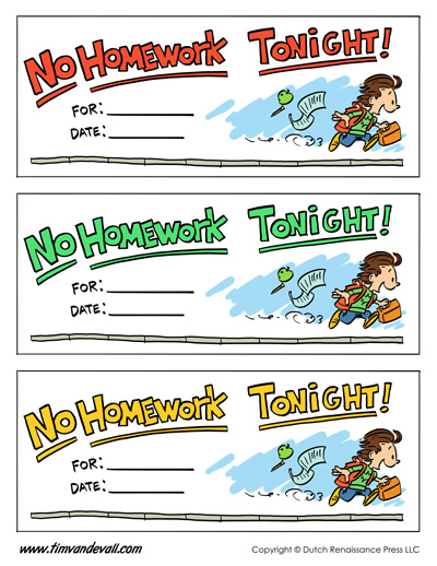 Printable Homework Passes | Free Homework Pass Template