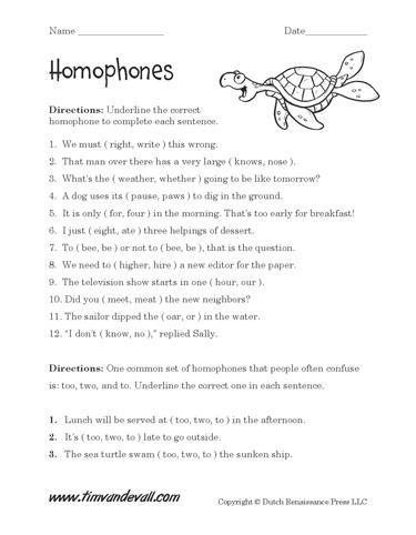 free homophones worksheets