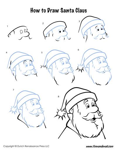 how to draw Santa