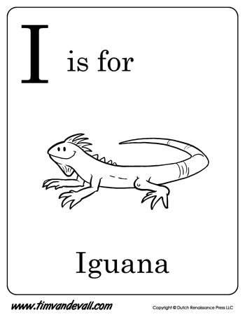 i is for iguana letter i coloring page - Iguana Coloring Page