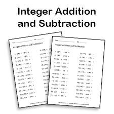 Integer addition and subtraction worksheet generator
