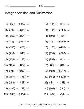 integer practice worksheet